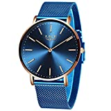 LIGE Relojes Unisex Hombre Mujer Casual Ultra Delgado Reloj Simple Cuarzo Analógico 3ATM Impermeable para Masculino Minimalista Azul Malla Gents Hombre Reloj de Pulsera
