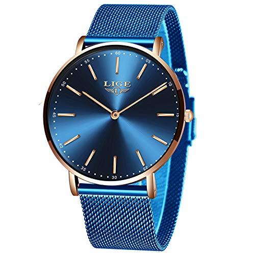 LIGE Unisex Uhren Damen Herren Wasserdicht Mode Einfach Uhren für Männer Minimalistische Analog Quarz Herrenuhren Männlich Klassisch Beiläufig Blau Edelstahl Mesh Armbanduhren