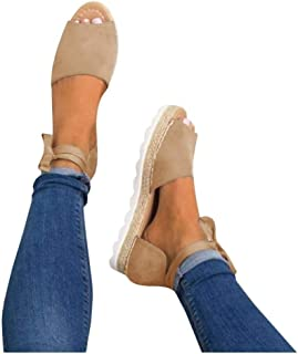 Fashare Womens Espadrilles Tie Up Flat Sandals Peep Toe Classic Cutout D'Orsay Dress Shoes