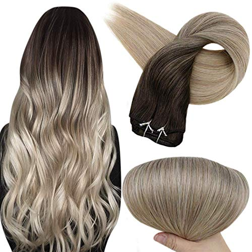 Full Shine 22 Inch Clip In Hair Extensions Color 2 Darkest Brown Fading To 18 Ash Blonde and 60 Platinum Blonde Hair Clip In Extensions 7 Pieces Clip On Long Straight Hair Extensions 100 Gram