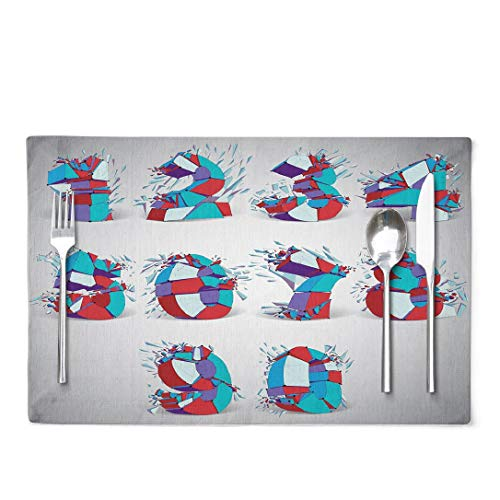 GANKE Lattice Placemats Set of Wireframe Numbers Broken Into Different Fragments Geometric Polygonal Numeration with Lines Mesh Low Poly Shattered Set of 4 Table Mats D¨¦cor for Kitchen Dining Room