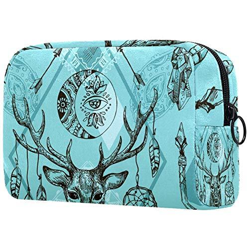 Beau motif dessiné à la main - Sac à maquillage portable - Sac à maquillage imprimé - Pour femme - Sac cosmétique de voyage