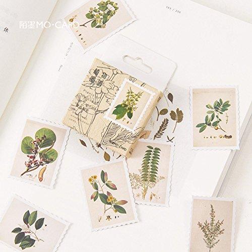 Blour Plantenkaart in doos, zelfklevend, knutselen, scrapbooking-papier, stempel, vintage-planner, schrijfwaren, school, 45 stuks