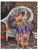 NSWZX Kits pintura diamantes 5D Diy Bordado diamantes Animal Cairn Terrier Perro Mascota Foto Pintura diamante personalizada Pegatina punto cruz, Decoración la pared del hogar 40X50Cm