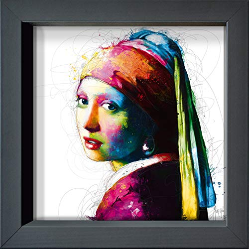 International Graphics ingelijste briefkaart - MURCIANO, Patrice - ''Vermeer Pop' - 16 x 16 cm - antracietkleurige lijst