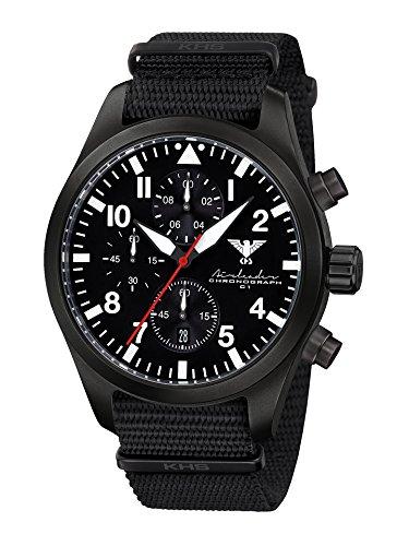 Airleader Black Steel Chronograph KHS.AIRBSC.NB Edelstahl IP-beschichtet schwarz, Natoband schwarz, KHS Tactical Watch, Einsatzuhr, Fliegeruhr