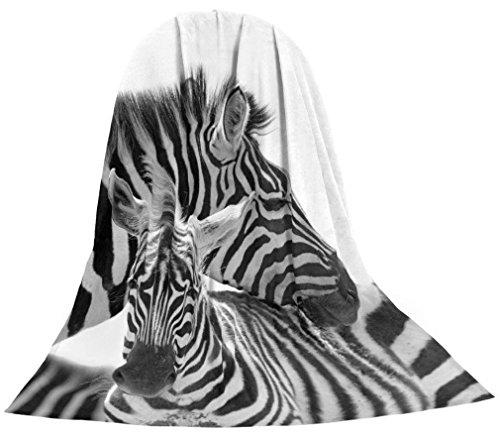Emanhu Trading Microfaser Kuscheldecke Tagesdecke Wohndecke Decke Tiermotiv Motivdrucke Fotodruck 1,5m x 2m (Zebra)