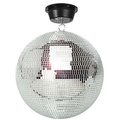 """beamz SIlver Hanging Glitter Mirror Ball 30cm 12"""" with Motor for Wedding Disco Prom Dance Hall"""