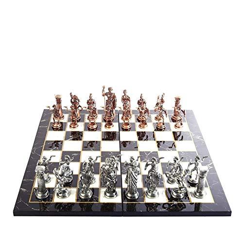 LINWEI Historische antike Kupfer Rom Figuren Metallschach Set für Erwachsene, handgefertigte Stücke und Marmor Design Schach Set 11 cm (Farbe: Multicolor)
