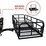 AA Products Hitch Mount Basket Foldable Storage Steel Cargo Carrier Rack, Fits 2 Trailer Mounted Hitches - Black