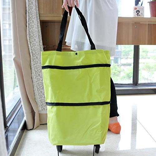 XHUENG Useful Sale Shopping Bag Multi-function Portable Fashion Folding Shoulder Bag Large Capacity Food Organizer Trolley Bags (Color : With Wheel Orange)