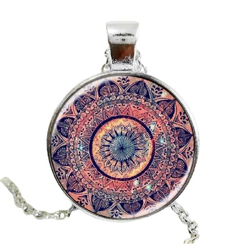 El último diseño arte regalo esplendor de color caleidoscopio mandala collar de cristal cabujón collar joyería
