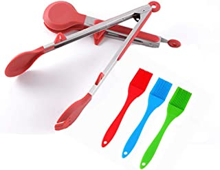 """Kitchen Tongs for BBQ, 12"""" and 14"""", Red and 3 different color brushes Set 5 Pack, Premium Stainless Steel Tongs with Non-S..."""