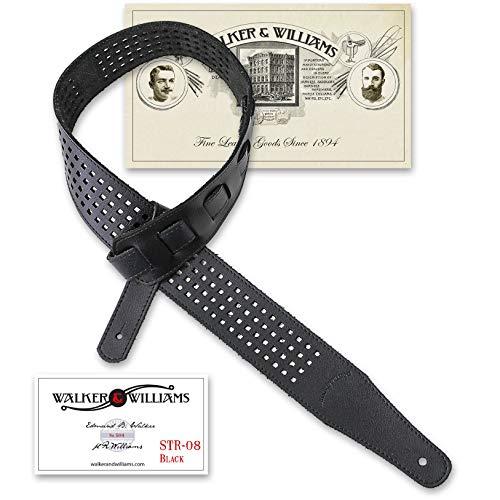 Walker & Williams ST-08 Black Waffle Cut Brazilian Leather Guitar Strap