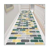 ZEMIN 廊下敷きカーペット、滑り止めウォッシャブルロングナローホールカーペット、長方形キッチン廊下通路ラグホーム装飾フロアマット、カスタムサイズ (Color : A, Size : 0.6mx1m)