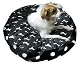Happy Hounds Scout Deluxe Round Dog Bed, Medium 36-Inch, Black/White