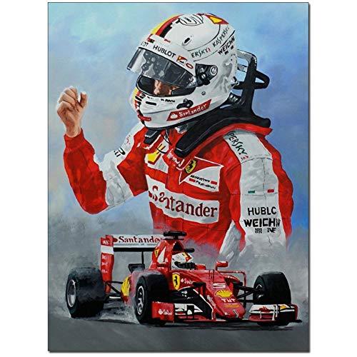 yhyxll Sebastian Vettel Wandkunst Leinwand Malerei HD-Drucke Wohnkultur Bilder Wohnzimmer Kunstwerk Poster -60x80cm Kein Rahmen