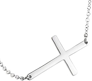 925 Sterling Silver Sideways Cross Necklace