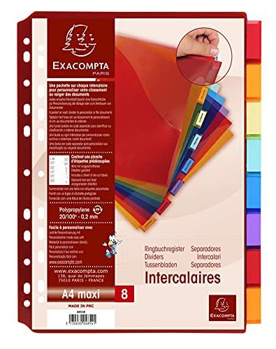 Exacompta - Réf. 4854E - Intercalaires en polypropylène translucide avec 8 onglets neutres - une pochette coin et porte étiquette - Une planche d'étiquettes détachables - Format à classer A4 maxi