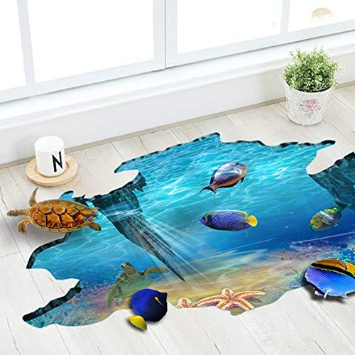 3D Floor Stickers PVC Underwater World Wall Stickers Vinyl Decal Fish Sea Turtle Decor Bathroom Floor Sticker Nursery Bedroom Decor