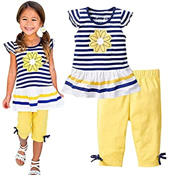 LUKYCILD Baby World Baby Girl Summer Casual Clothing Suit Short Sleeve Striped T-Shirt +Pants  4T Yellow