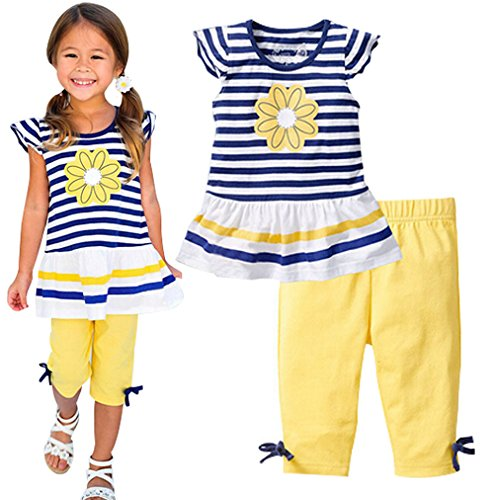 Baby World Baby Girl Summer Casual Clothing Suit Short Sleeve Striped T-Shirt +Pants