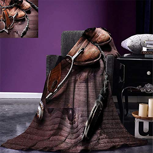 Couverture Polaire Western Authentic Old Leather Boots and Spurs Rustic Rodeo Equipment USA Style Art Picture Print Brown 102X127Cm Léger Soft Fleece Blanket Cozy Throw Blanket