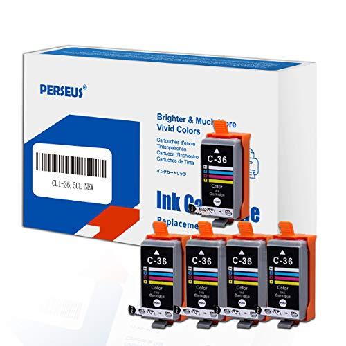 PERSEUS Sostituzione Cartucce d'Inchiostro per Canon CLI-36 CLI36 Colore(Pack of 5) Compatibili con PIXMA iP100 iP110 Series Stampante