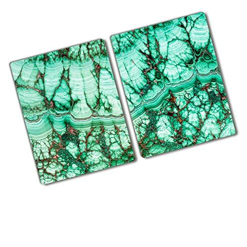 Tulup Vidrio Cubierta de la cocina 2x40x52 cm Cerámica Placa de inducción Placa protectora Tabla de cortar para cocina resistente al calor - Malaquita