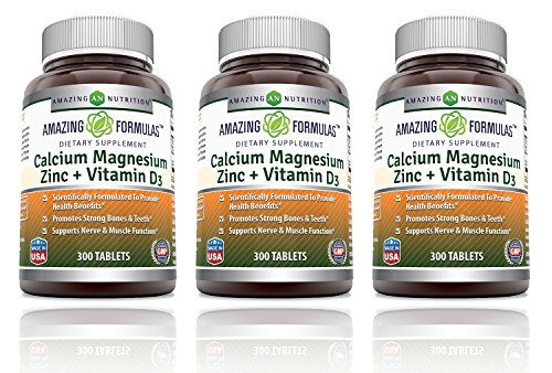 Amazing Nutrition Calcium Magnesium Zinc + Vitamin D3 300 Tablets (Pack of 3)