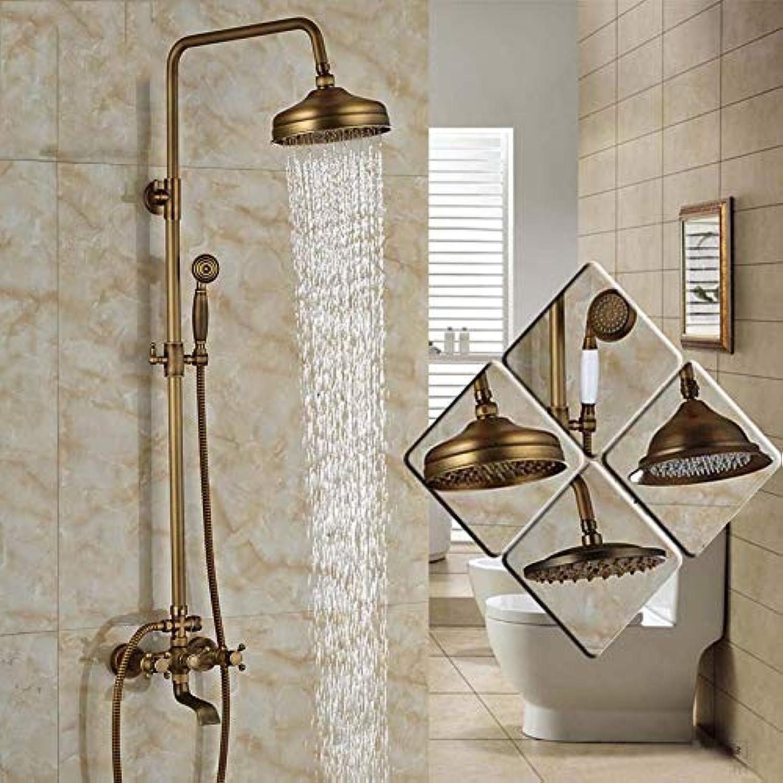 SHIJING Moderne 6-Modell-Badezimmer-Oberflchenmontage Messing Regendusche Wasserhahn Set Antik Messing mit Handbrause + Wanne Auslauf