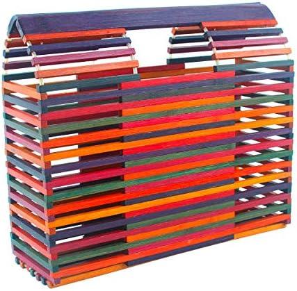 Womens Bamboo Handbag Handmade Tote Bamboo Purse Straw Beach Bag Multicoloured product image