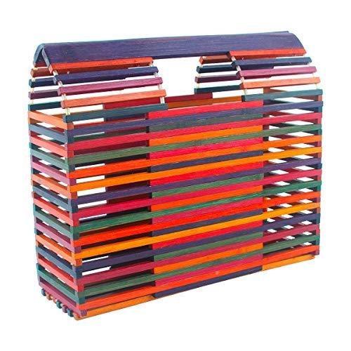 Womens Bamboo Handbag Handmade Tote Bamboo Purse Straw Beach Bag (Multicoloured)