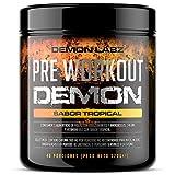 Pre Workout Demon (Sabor Tropical) - Suplemento Potente pre-Entreno con Creatina, Cafeína, Beta-Alanina y Glutamina (Envase de 320 Gramos - 40 Porciones)
