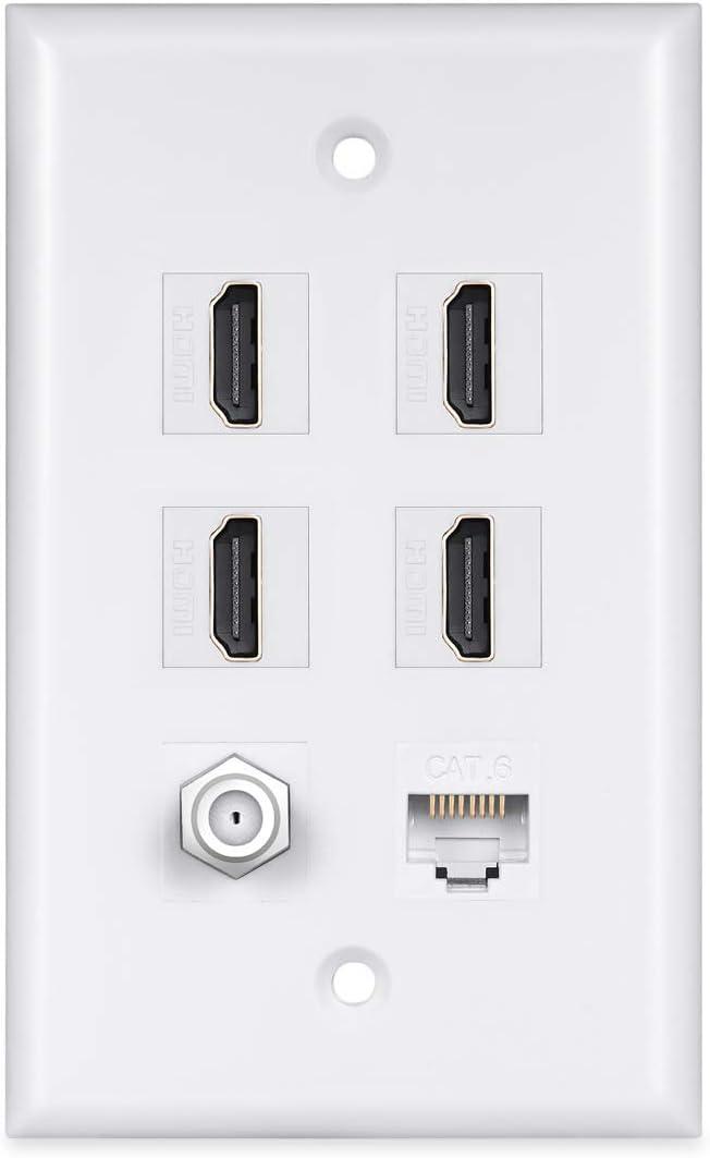 Max 81% OFF 4 HDMI Keystone Time sale Wall Plate PHIZLI Ethernet - Cat6 Cab 1 Coax