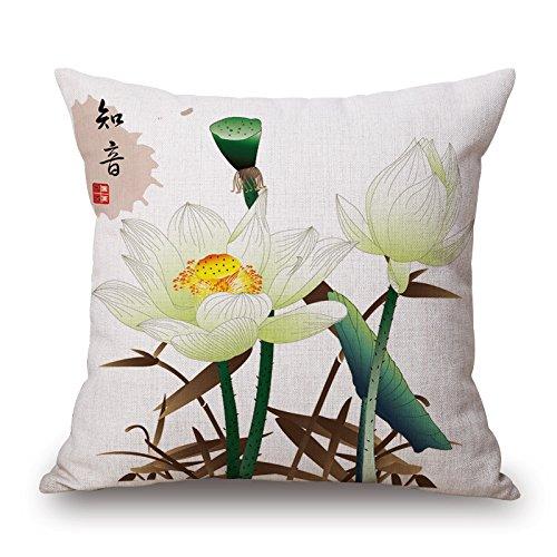 POPRY Moderna China pequeña Almohada Japonesa refrescante jardín de Estilo, Sala de Estar cojín del sofá, Almohada, 45x45 cm, n