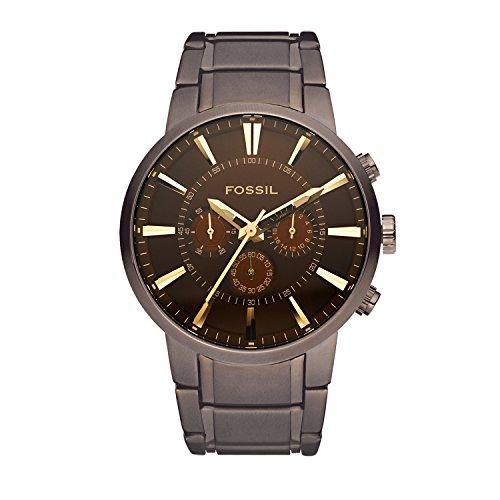 Fossil Herren Chronograph Quarz Uhr mit Edelstahl beschichtet Armband FS4357