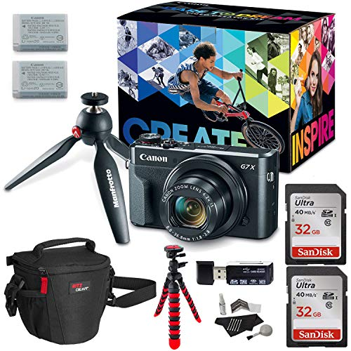 "Canon PowerShot G7 X Mark II Video Creator Kit, SanDisk 32GB Memory Card, 12"" Flexible Tripod, Camera Bag, Cleaning Kit, Card Reader and Accessory Bundle"
