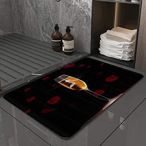 La Alfombra de baño es Suave y cómoda, Absorbente, Antideslizante,Mujer Tacones Altos Fondo Negro Diamante Vino,Apto para baño, Cocina, Dormitorio (50x80 cm)