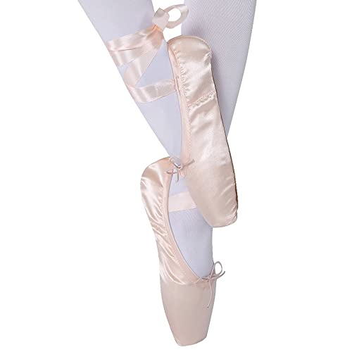 64cbd271b KUKOME-SHOP Girls Womens Dance Shoe Pink Satin Ballet Pointe Shoes with  Ribbon and Toe