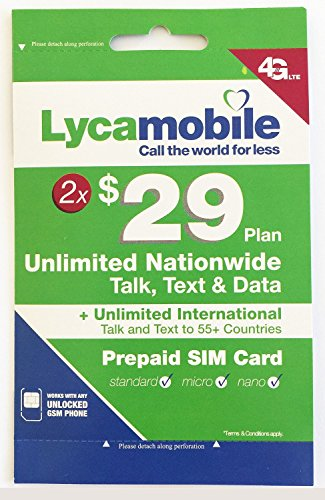 Lycamobile $29 Plan Preloaded Sim Cards Include 2 Month Service Plan