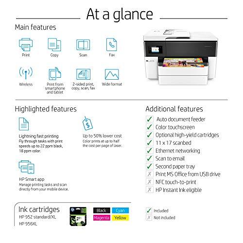 HP OfficeJet Pro Pro 7740 Wide Format AiO Inyección de tinta térmica A3 Wifi Negro, Color blanco - Impresora multifunción (Inyección de tinta térmica, Color, Color, Color, Color, Imprimir)