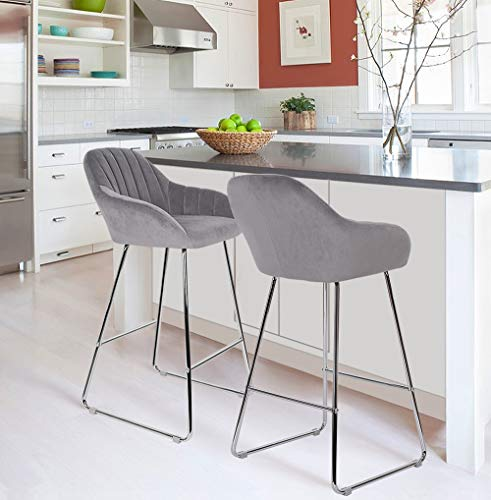 sunseen Velvet Barstools Home Bar Chairs Modern Upholstered Velour Counter Height Chair Side Dining Chairs with Metal Legs for Kitchen Dining Room Restaurant Pub Coffee (Set of 2, Gray)
