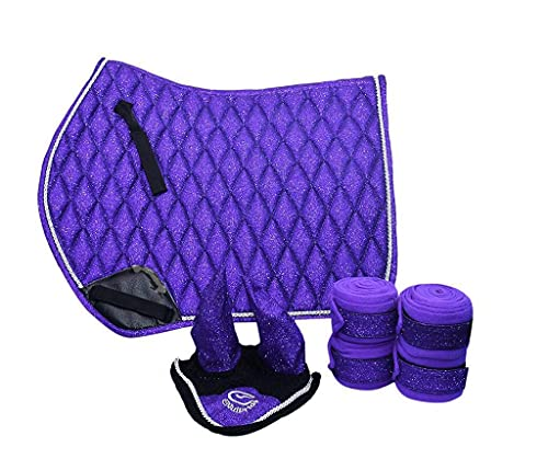 Equipride GP Tapis de selle scintillant avec voile et bandages assortis - Tissu pailleté violet (Full Cob)