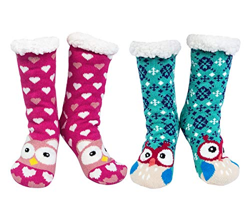Chalier 2 pares Calcetines Mujer Antideslizantes Invierno, Calcetines Divertidos Animal, Gruesos Lana Calcetines Térmicos