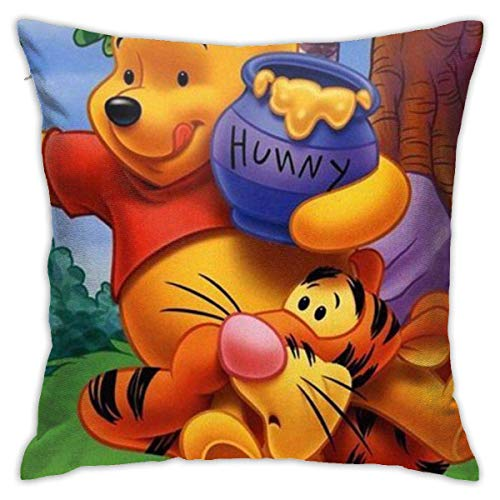 Winnie and Tigger - Juego de fundas de almohada decorativas de 45,7 x 45,7 cm, forma cuadrada