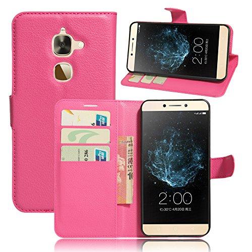 Qiaogle Telefon Case - PU Leder Wallet Schutzhülle Case für Letv LeEco Le 2 X620 / LeEco Le 2 Pro (5.5 Zoll) - FC06 / Rose Klassische Solid Color Geschäfts Art