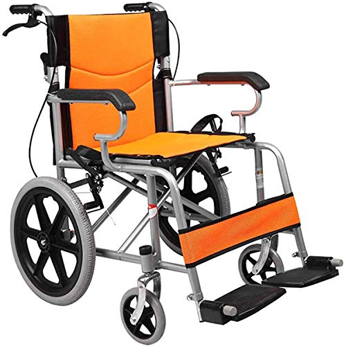 ZYHBJH Silla de Ruedas Plegable Ligera, Auto propulsada cómoda para sillas de Ruedas portátil, reposapiés extraíbles, reposabrazos,Naranja