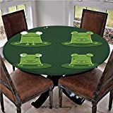 """Elastic Edged Polyester Fitted Table Cover,Funny Muzzy Frog on Lily Pad in Pond Hunting Tasty Fly Expressions Cartoon Animal,Fits up 40""""-44"""" Diameter Tables,The Ultimate Protection for Your Table,Bott"""