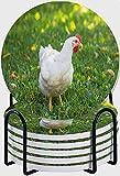 GUVICINIR Juego de 6 Posavasos de cerámica Absorbente con Base de Corcho,Apto para Tipos de Tazas,Pollo de engorde Rojo gallina Blanca sobre la Hierba Verde Pico de Agricultura de Pollo